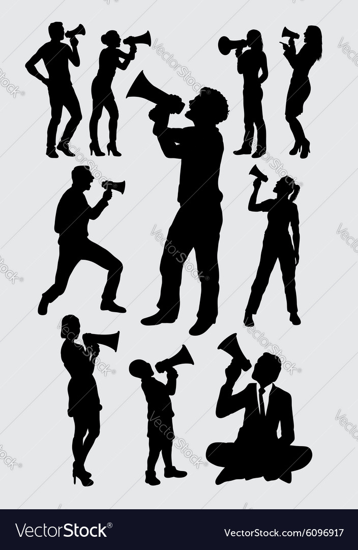 Attractive people with megaphone silhouettes vector
