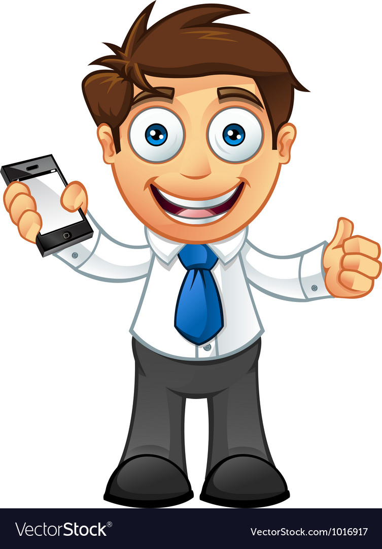 Business man thumbs up with mobile vector