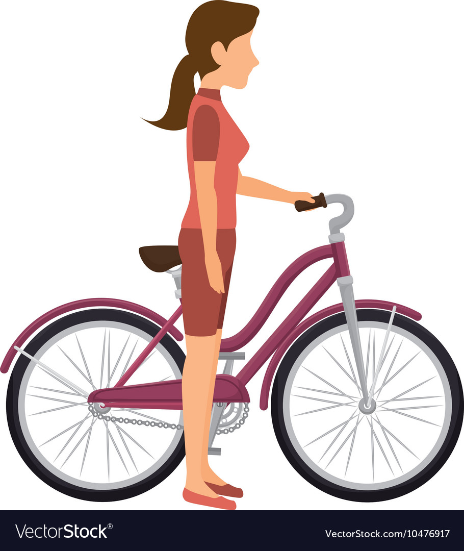 Cyclist woman bicycle vector