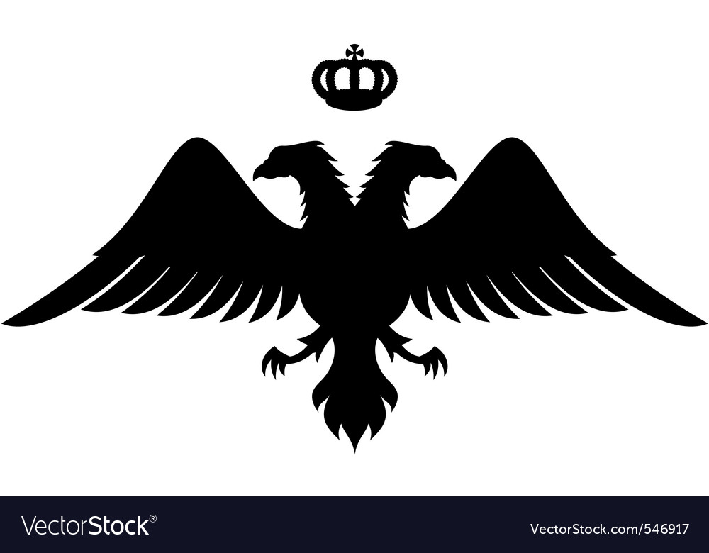 Double headed eagle silhouette vector