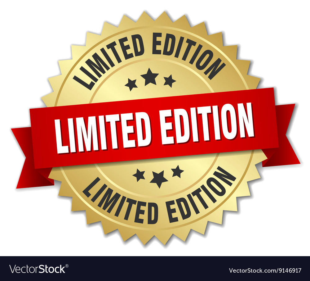 Limited edition 3d gold badge with red ribbon vector