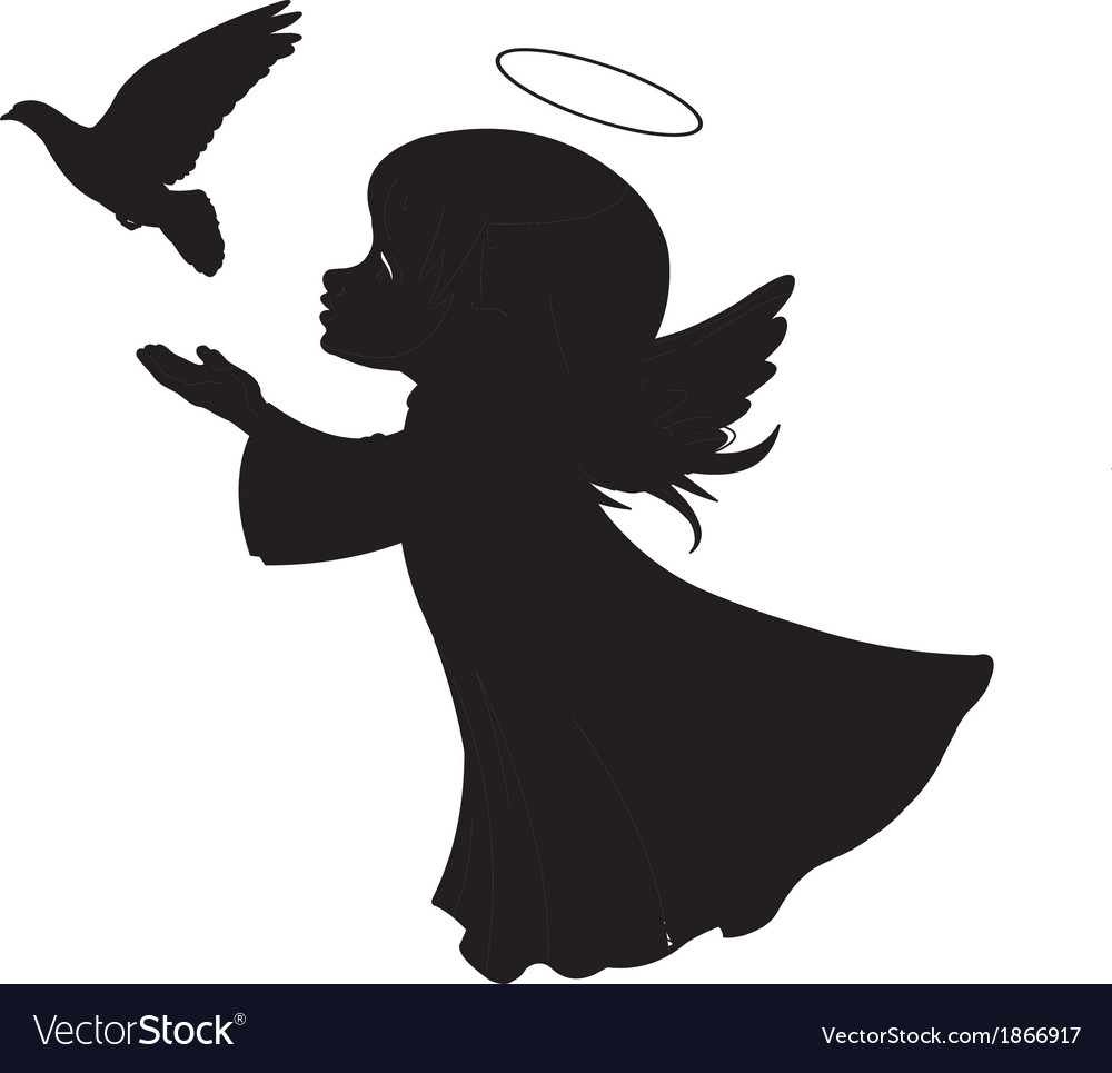 Silhouette of a angel with dove vector