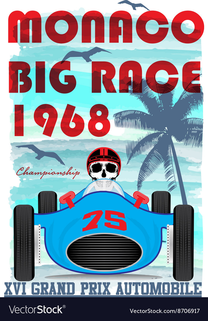 Vintage race car for printing old school race post vector