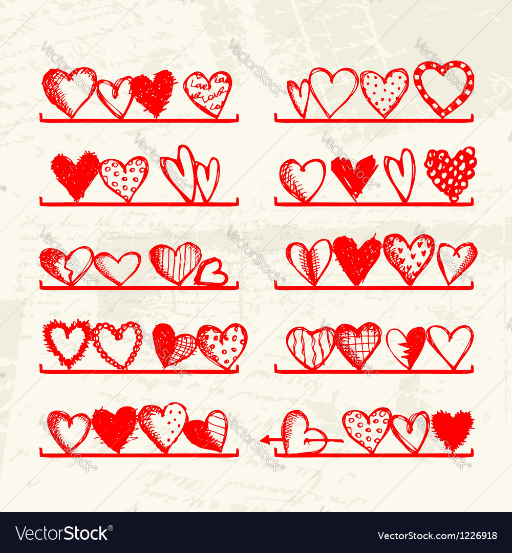 Funny hearts on shelves sketch drawing for your vector