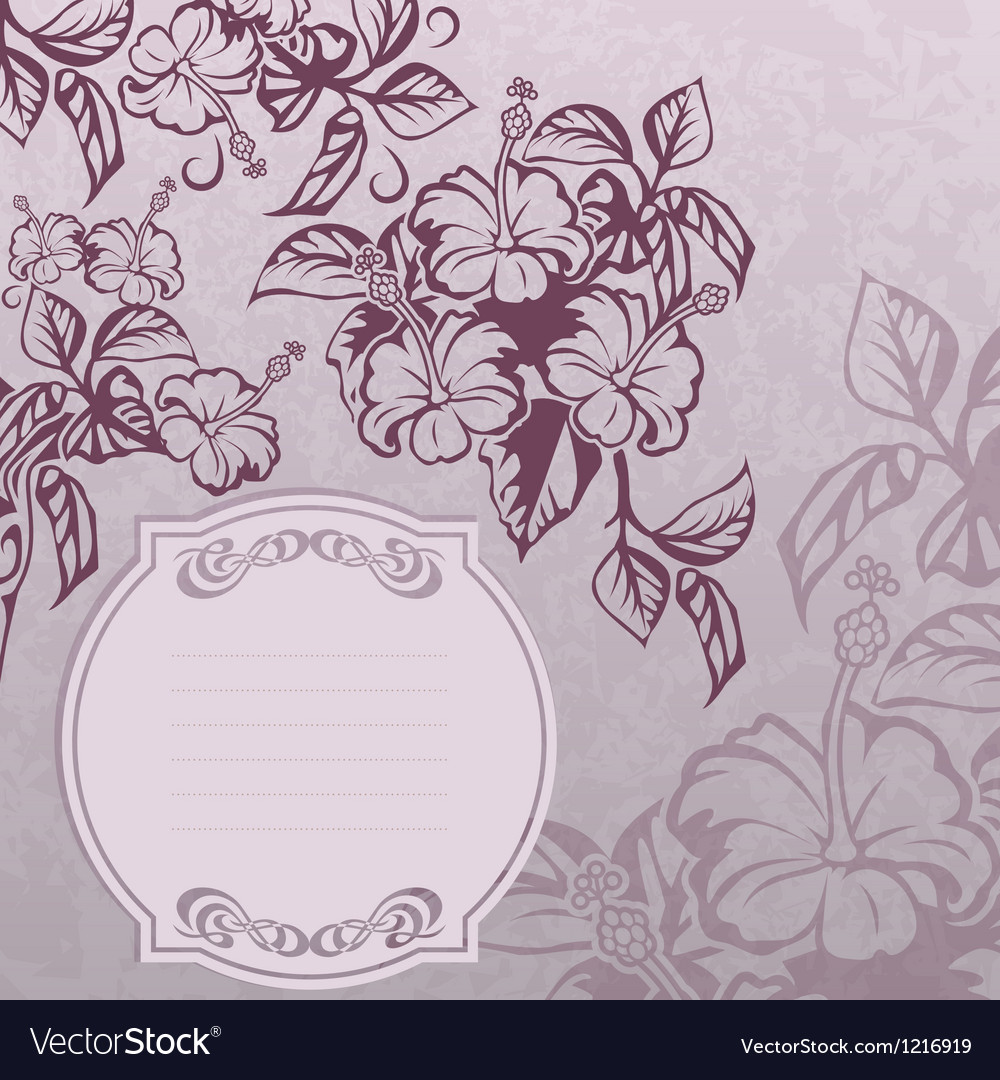 Hibiscus lable grunge vector