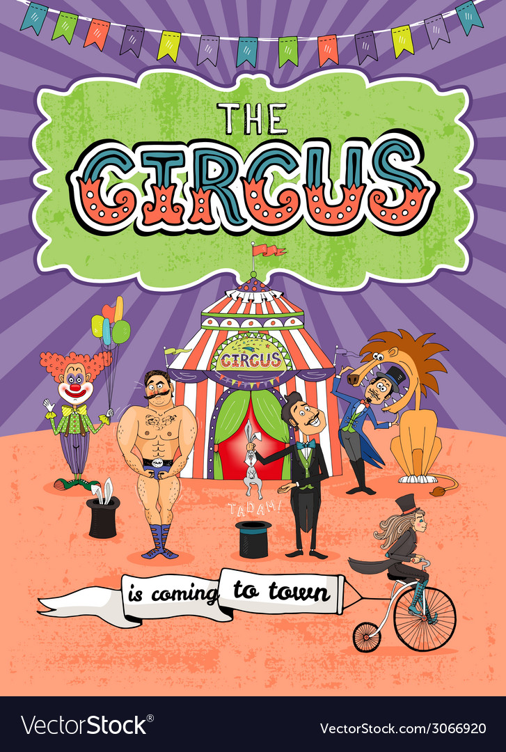 Circus poster design  coming to town vector