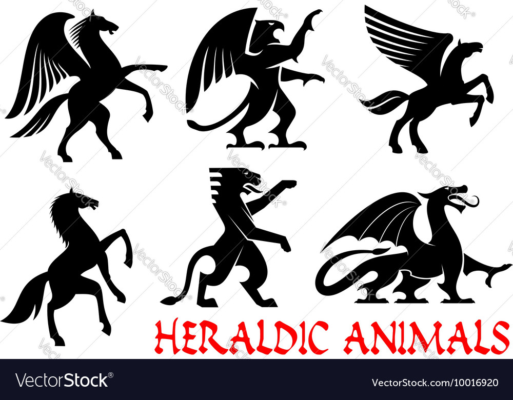Heraldic animals emblems and icons vector