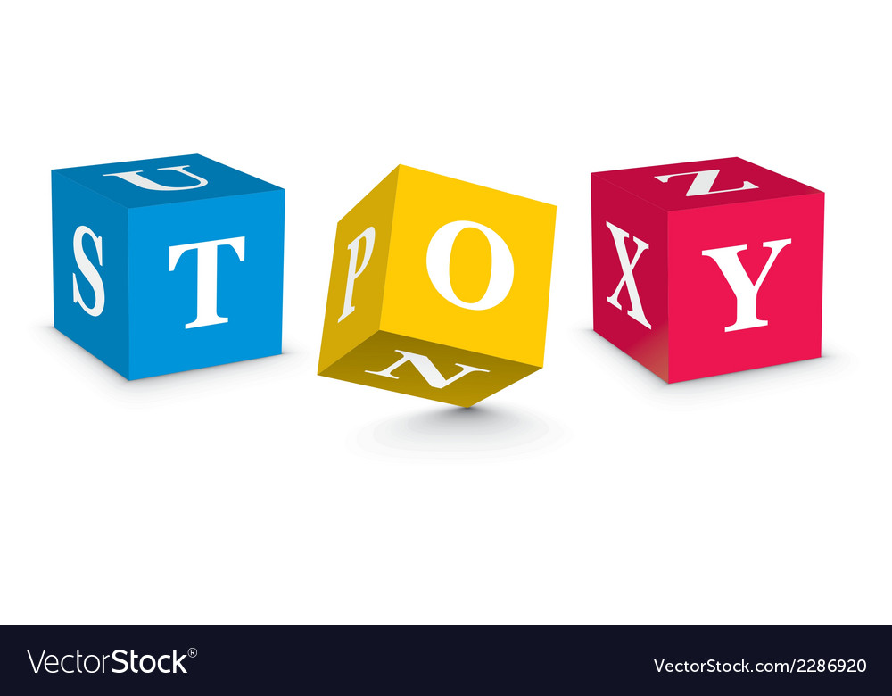 Word toy written with alphabet blocks vector