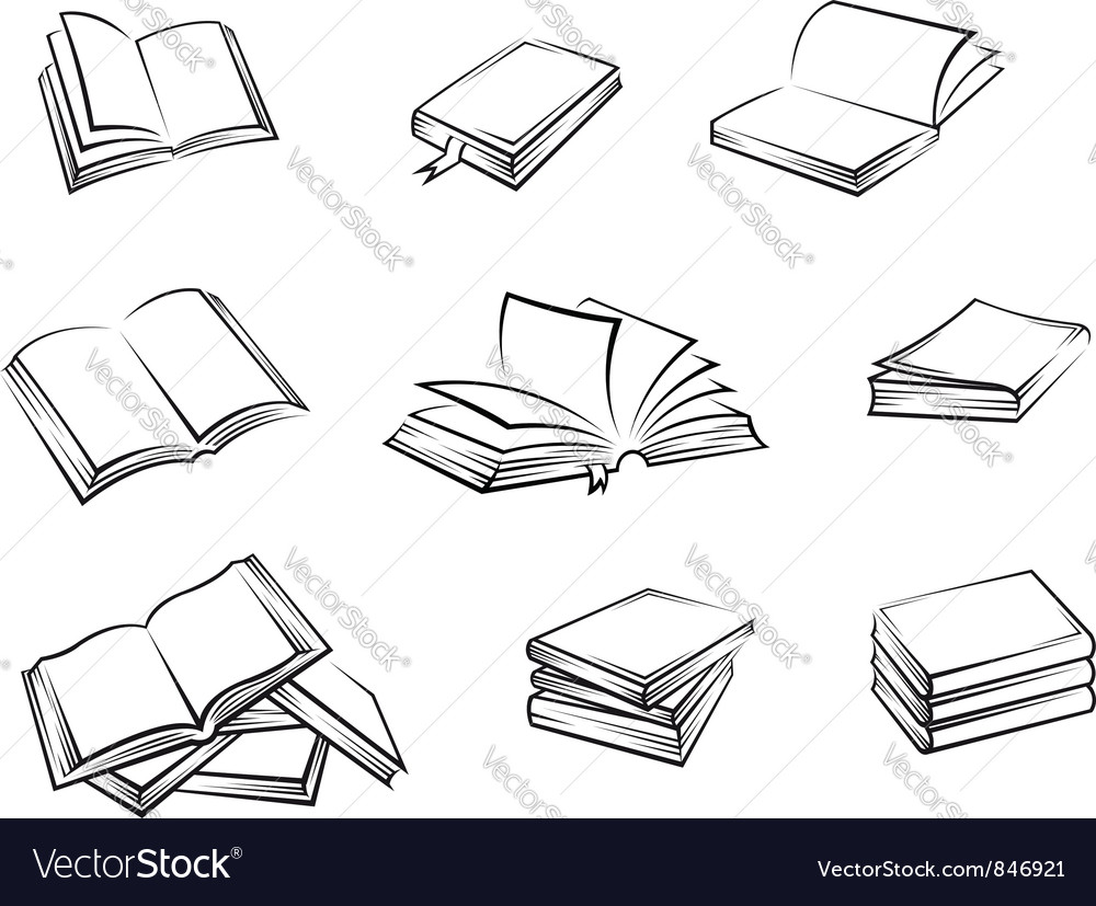 Hardcover books set vector