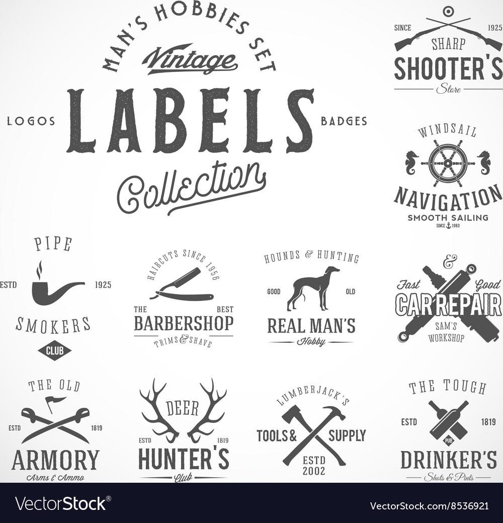Set of vintage icons labels or logo templates vector