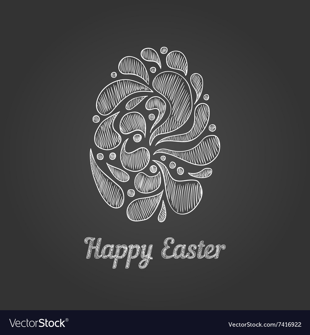 Greeting card with doodle easter egg4 vector
