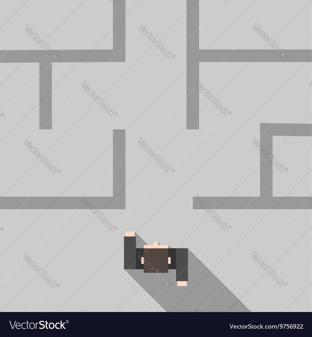 Man entering maze vector