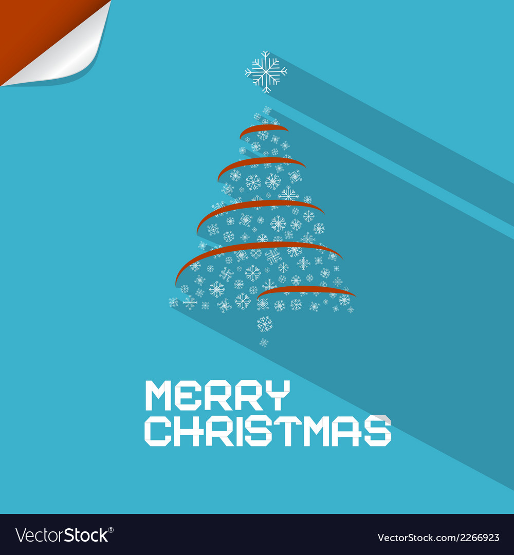 Blue merry christmas background with paper tree vector
