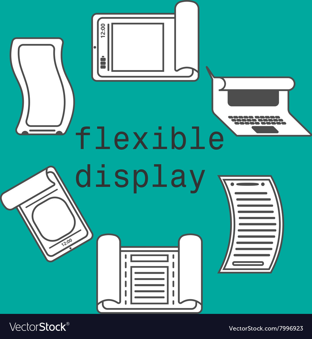 Flexible display smartphone icons flat style vector