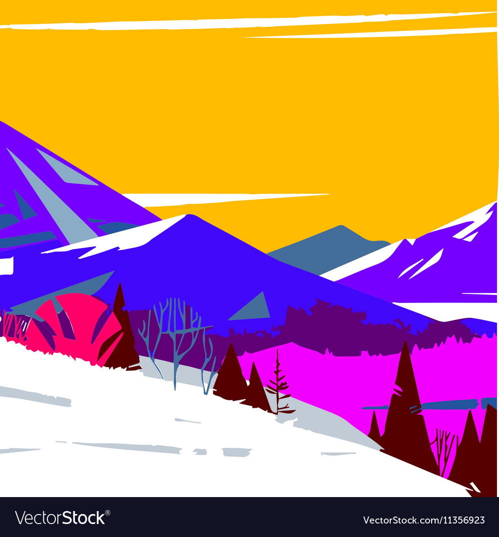 Image of colorful stylized mountains with trees vector