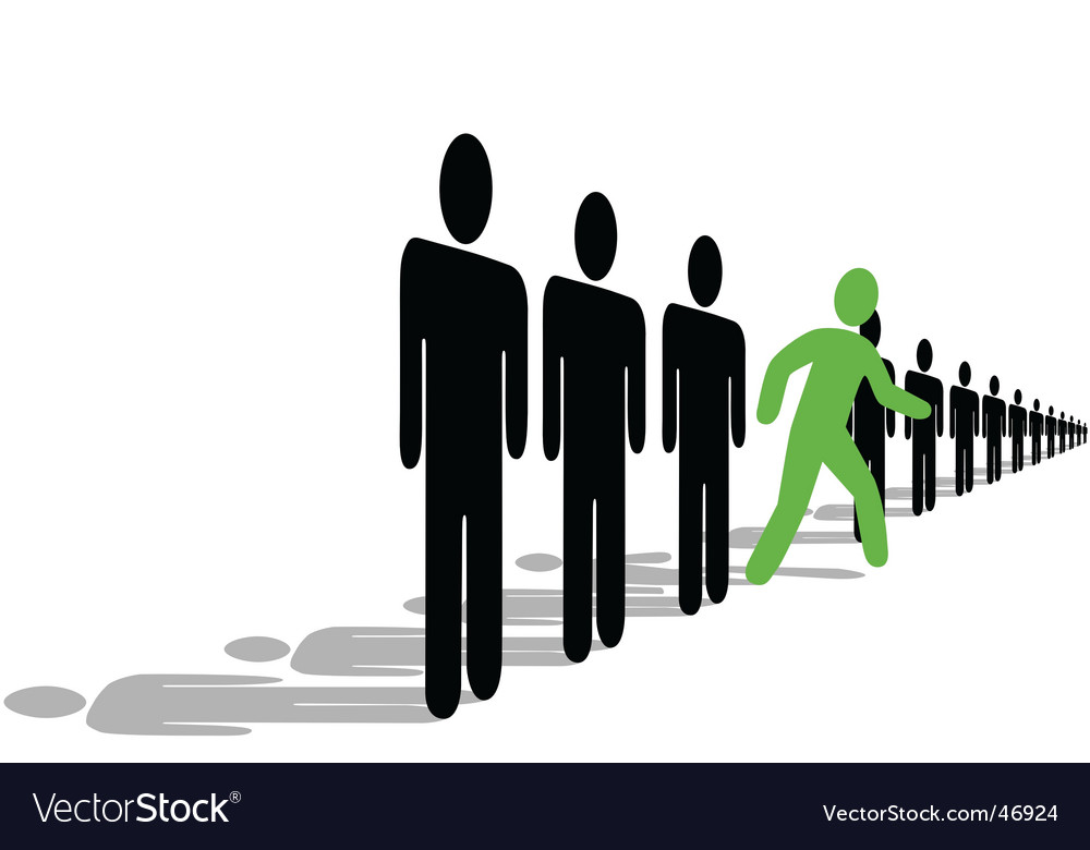 Green symbol person steps out of line vector