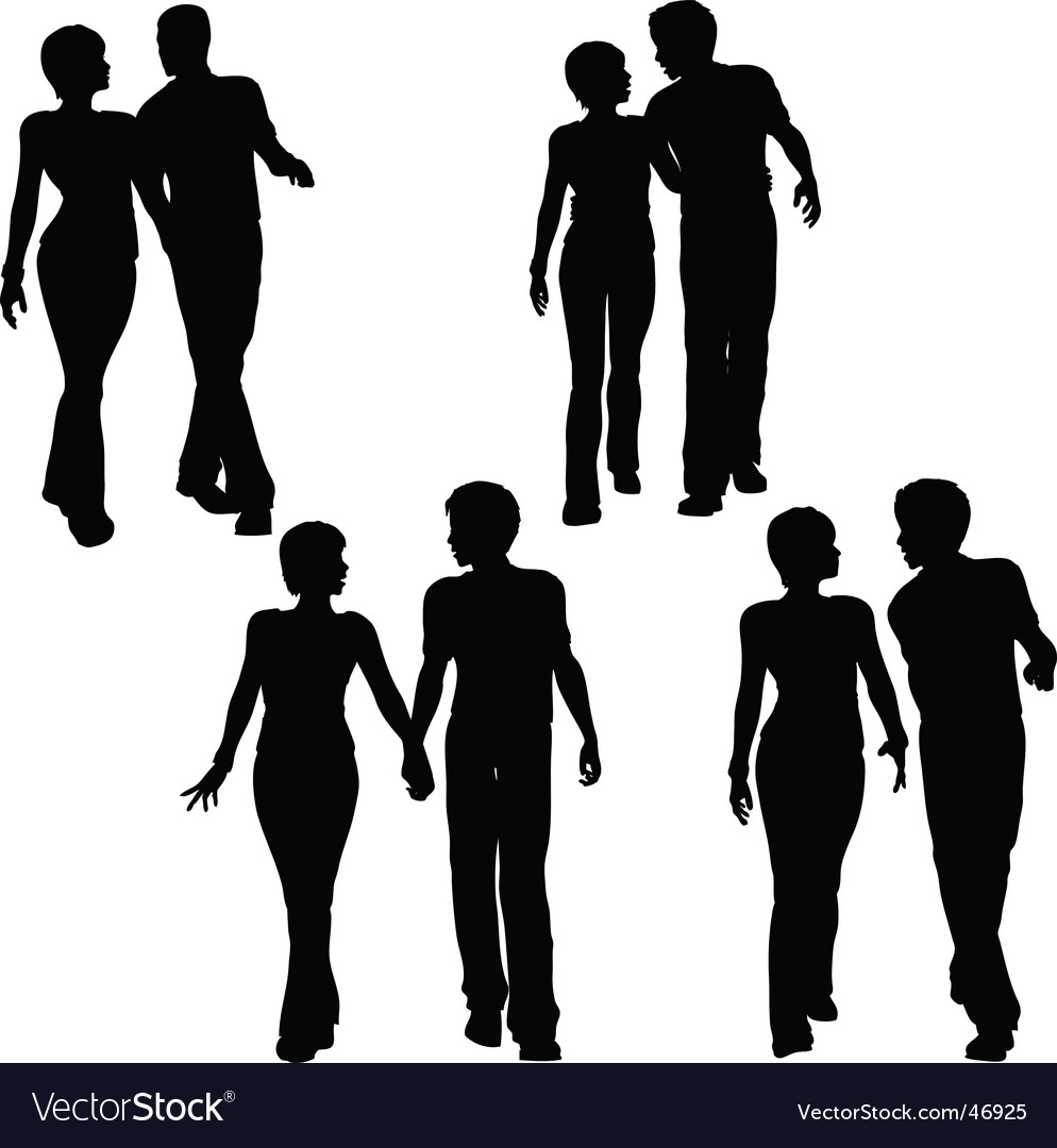 Couples walking vector