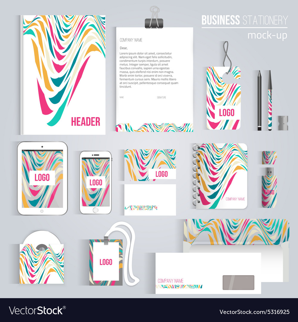 Creative colorful wave corporate identity vector