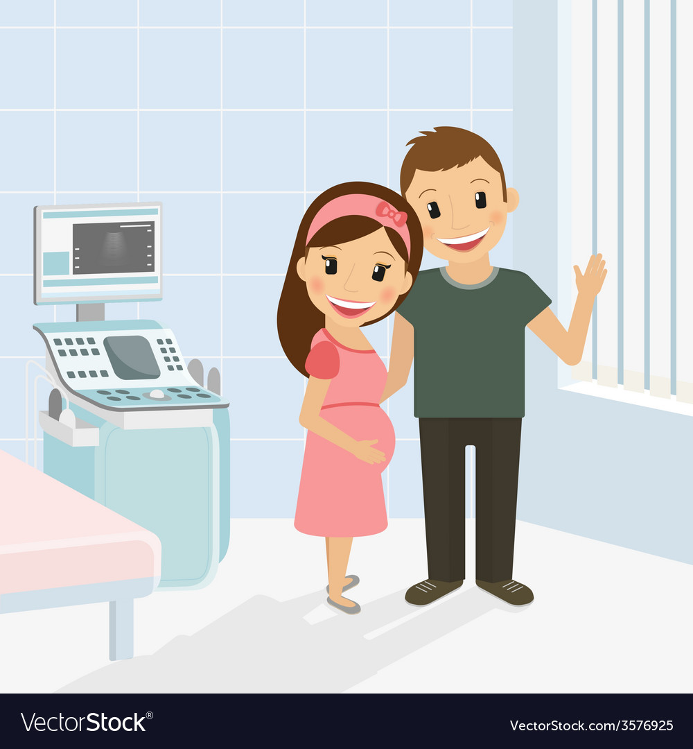 Pregnant woman with husband vector