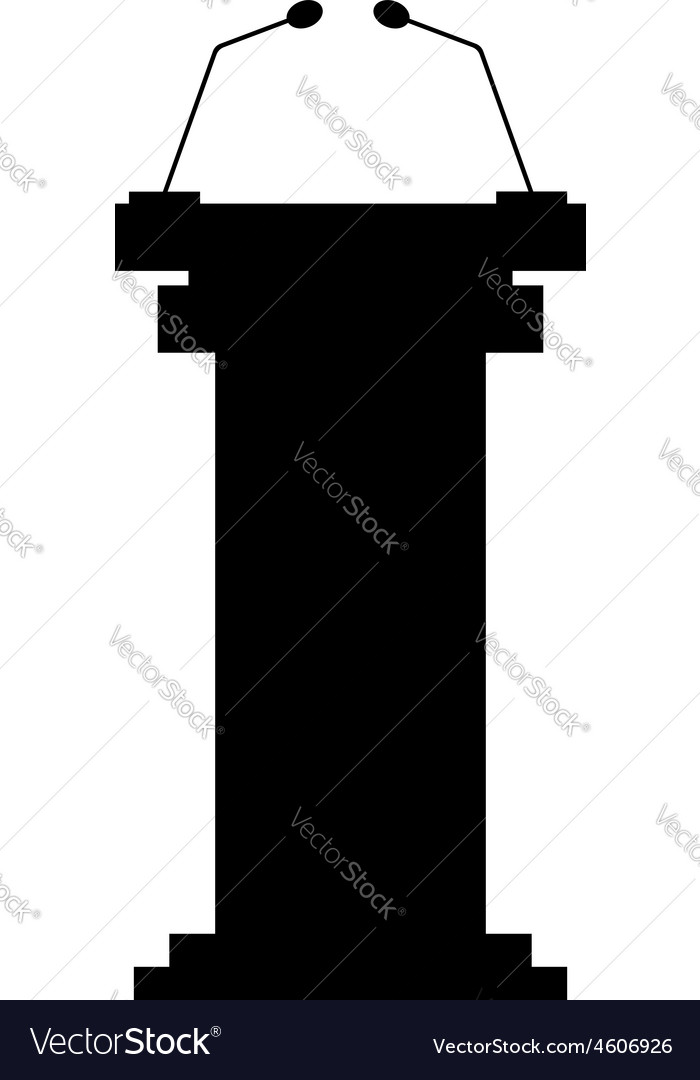 Black tribune icon with microphones vector
