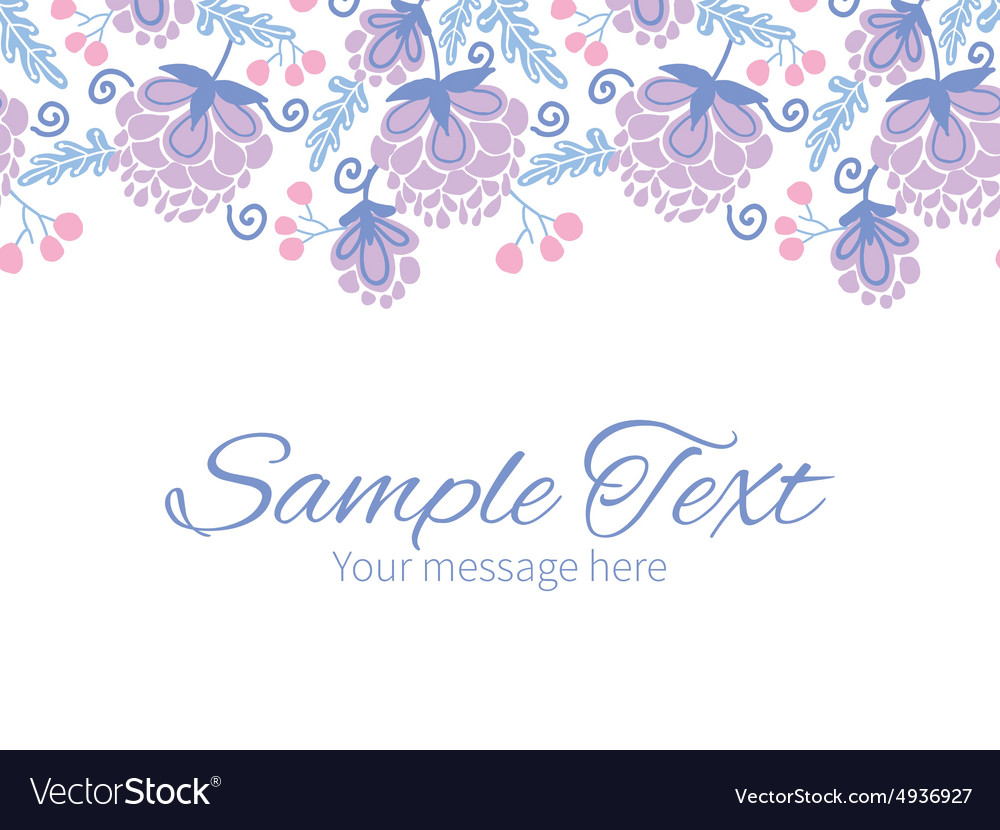 Soft purple flowers horizontal border vector
