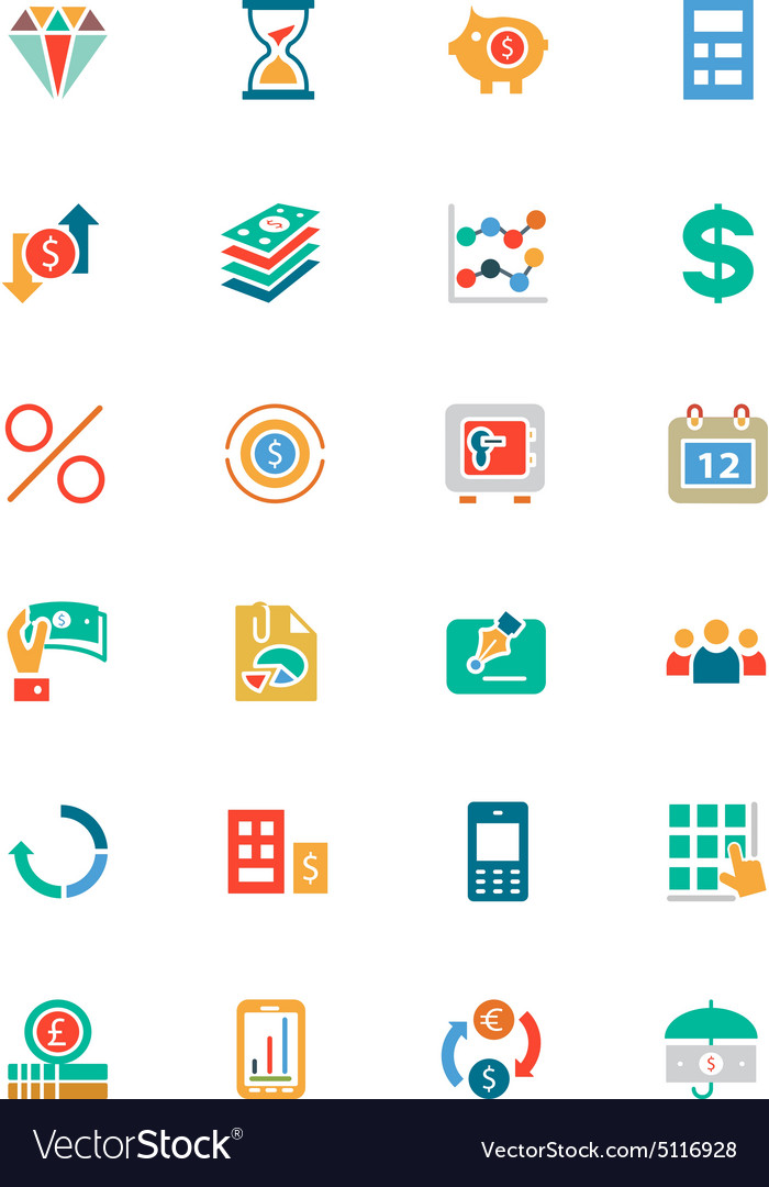 Banking and finance colored icons 7 vector