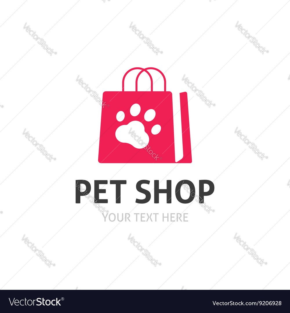 Pet shop logo isolated on white zoo store vector