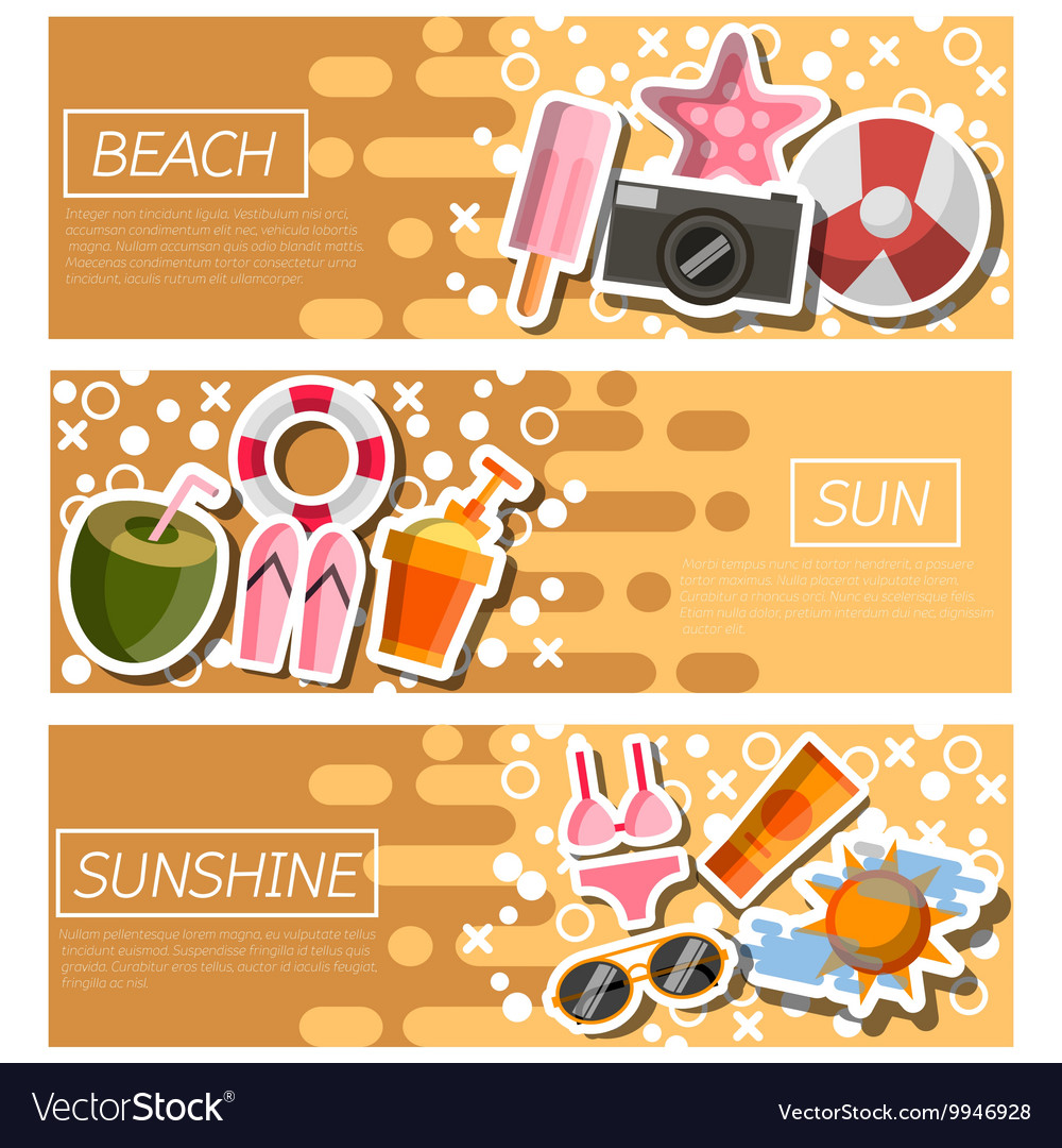 Set of horizontal banners about beach vector