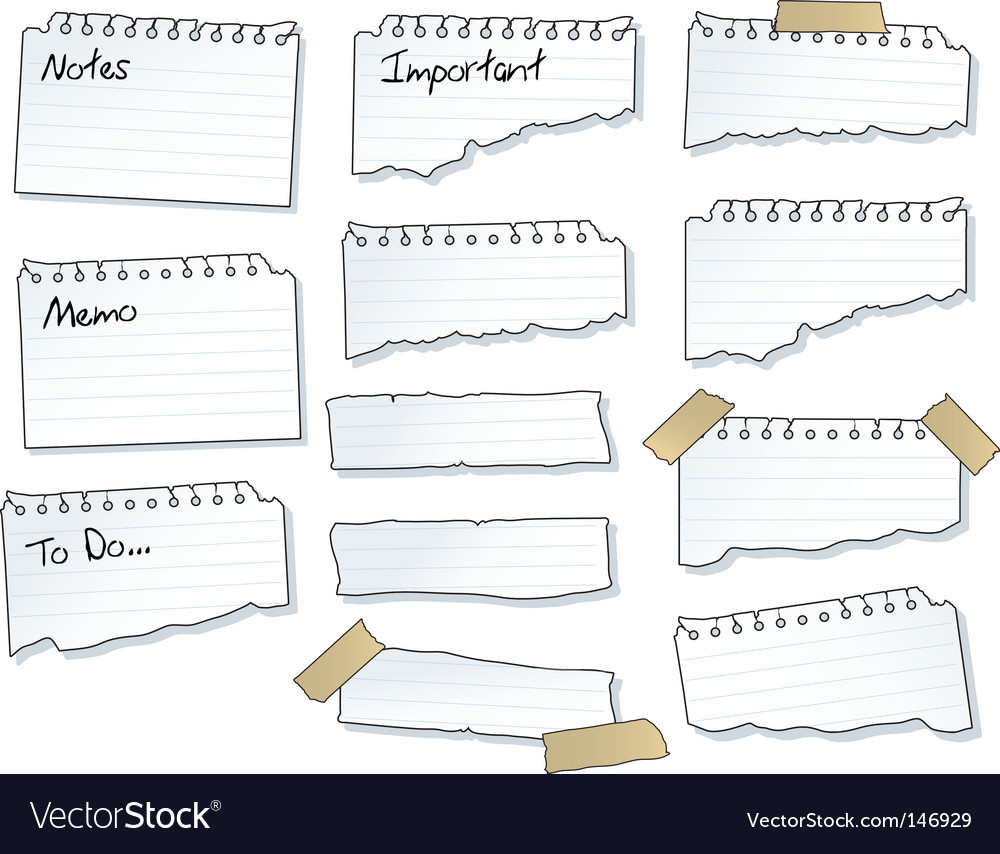 Torn note pad pages vector