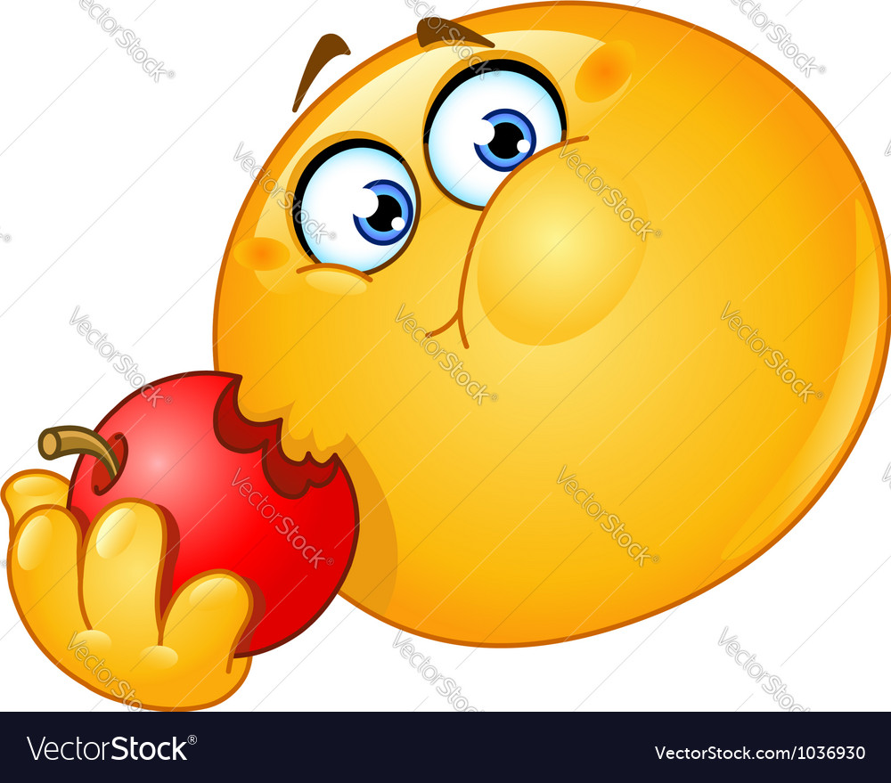 Emoticon eating apple vector