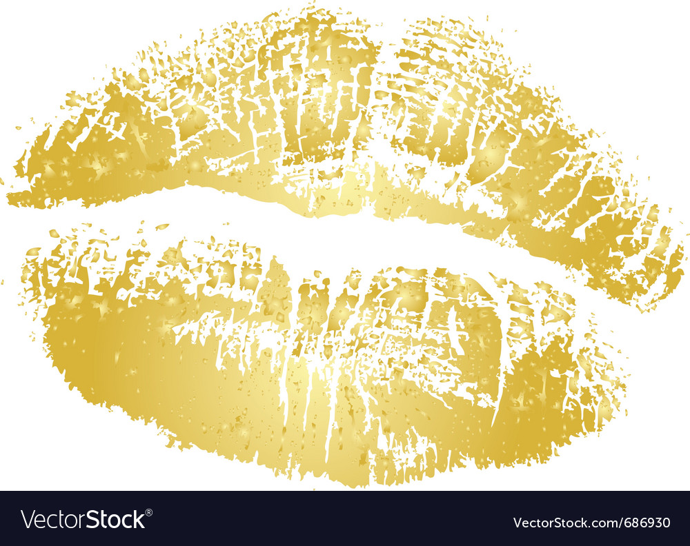 Gold kiss vector