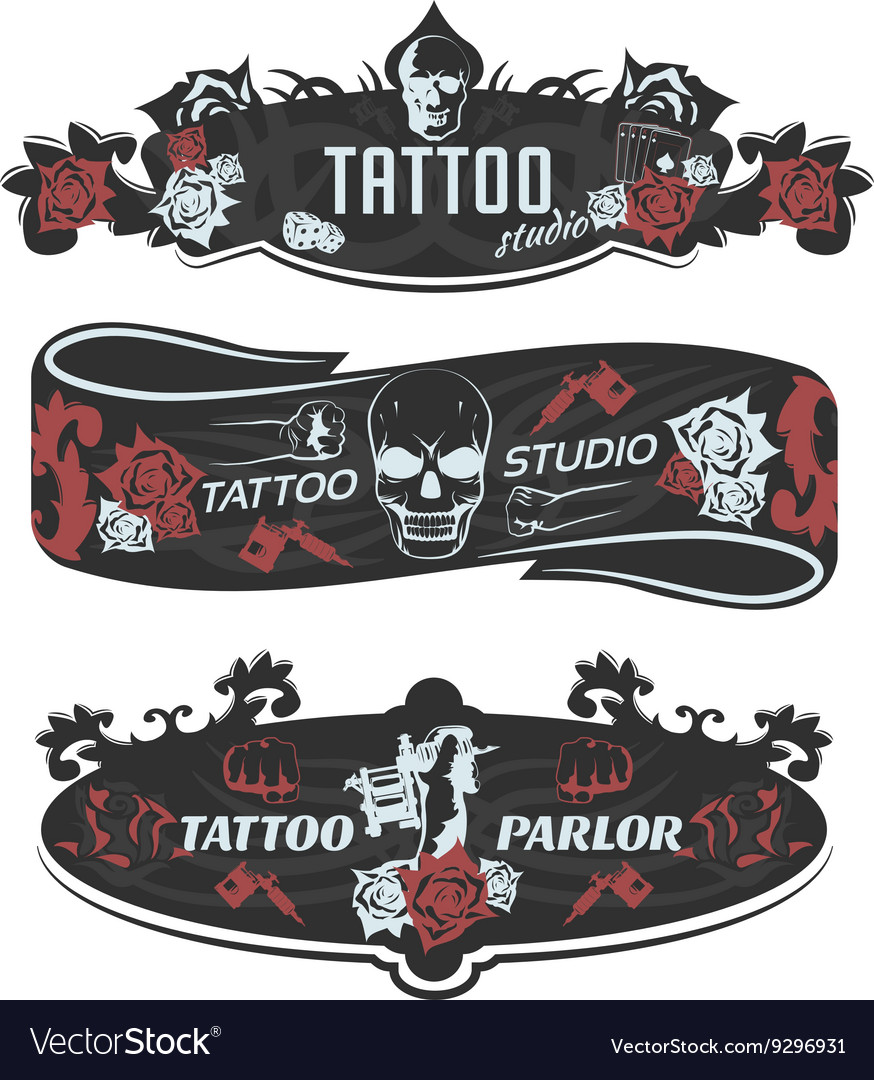Tattoo studio horizontal banners vector