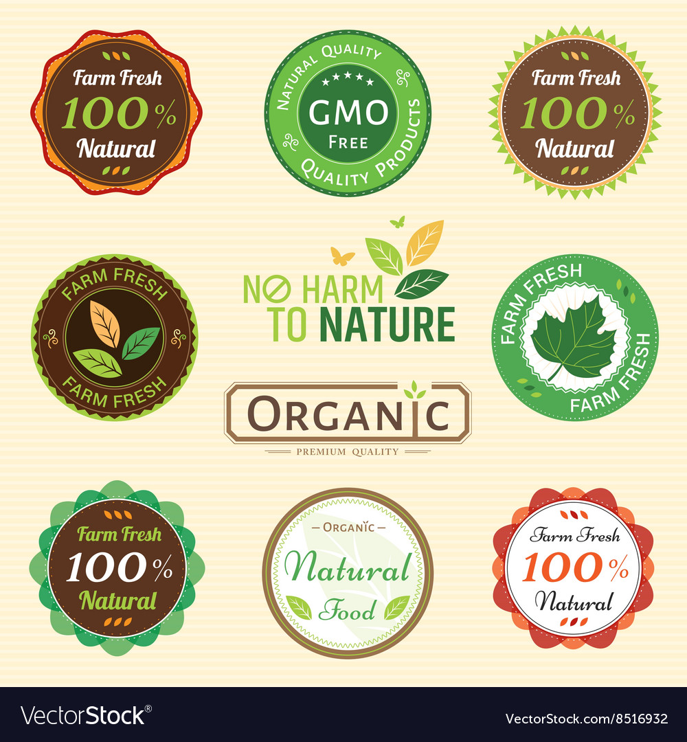 Badge set of certified organic natural farm fresh vector