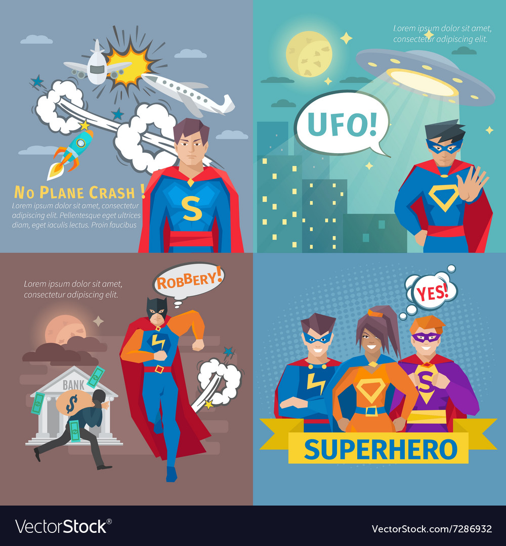 Superhero concept icons set vector