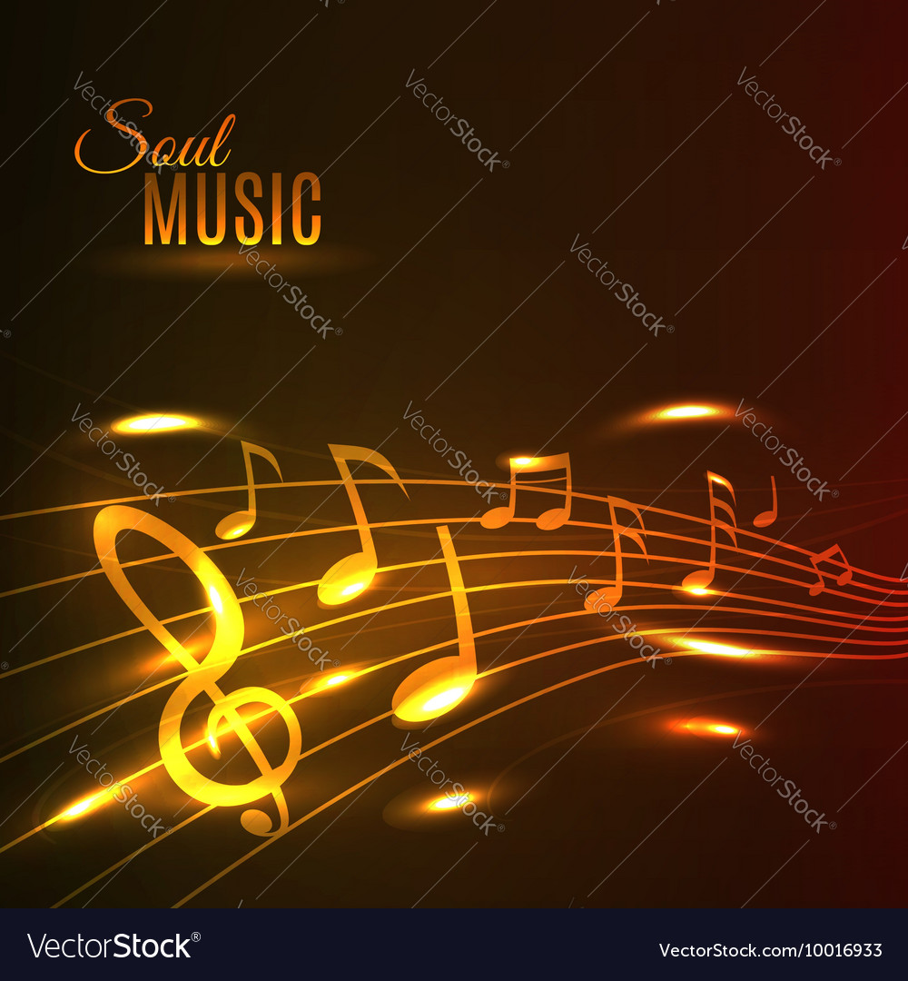 Golden music notes stave poster vector