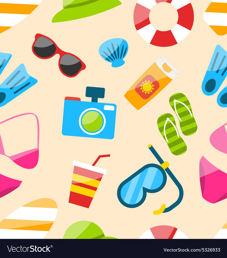 Seamless pattern with tourism objects vector