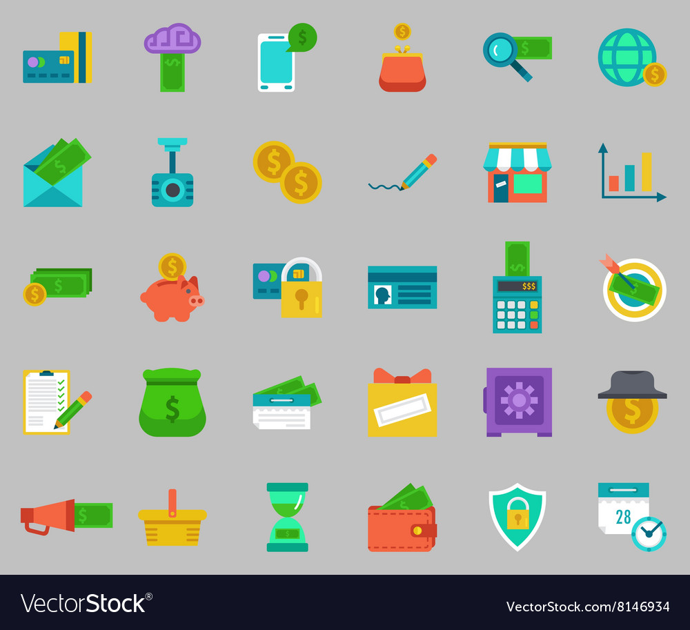 Banking icons set  pay and receive money vector