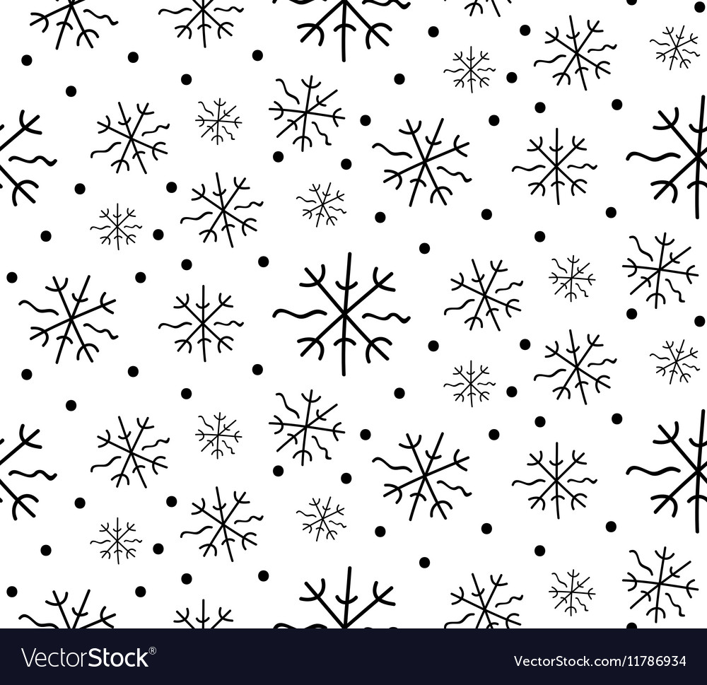 Winter background of drawn lines vector