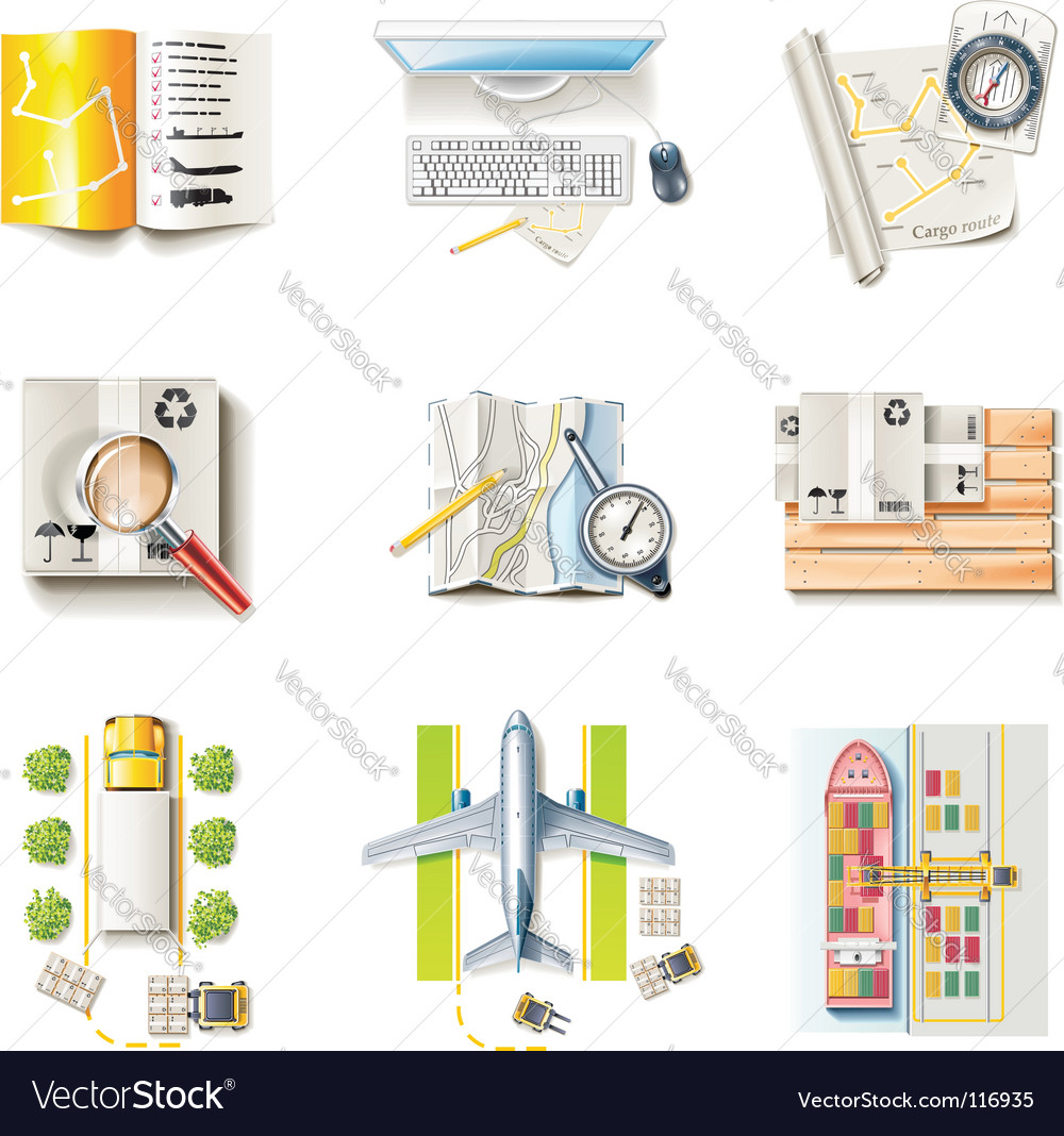 Freight transportation icons vector
