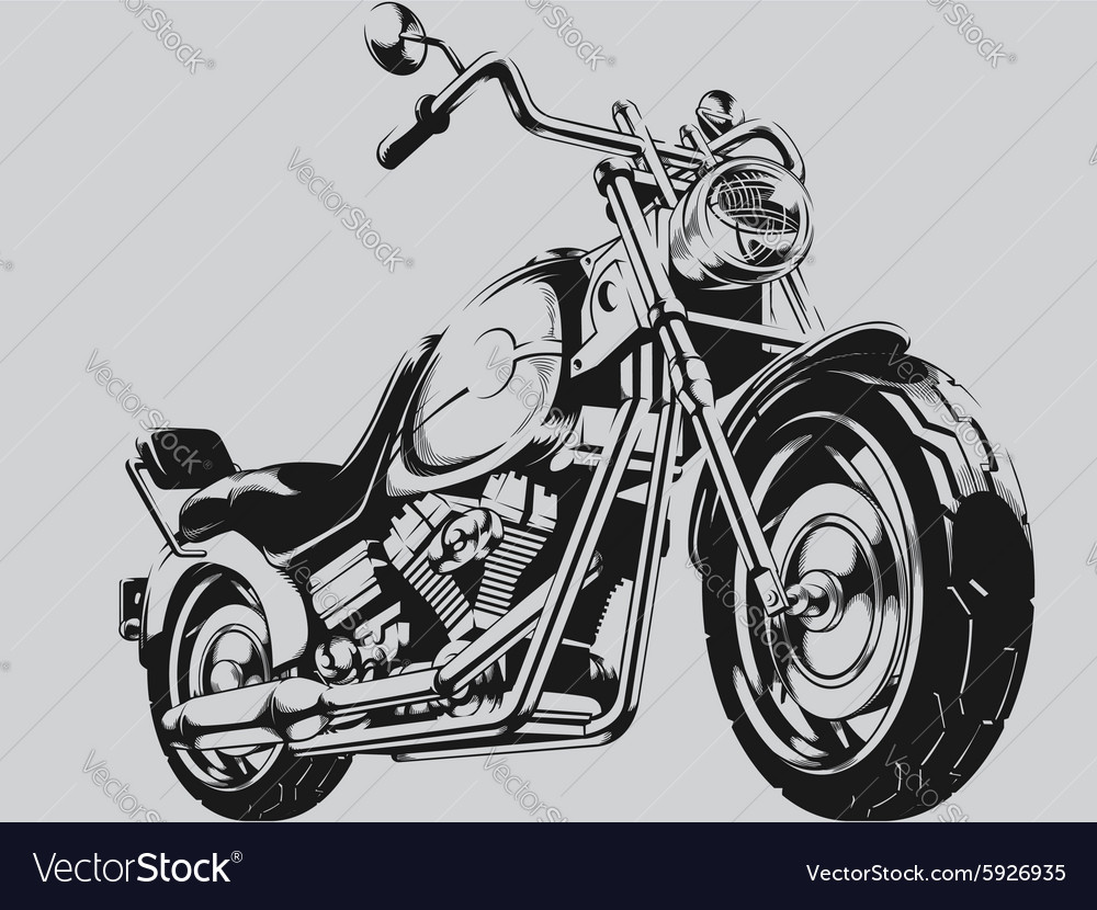 Vintage motorcycle silhouette vector
