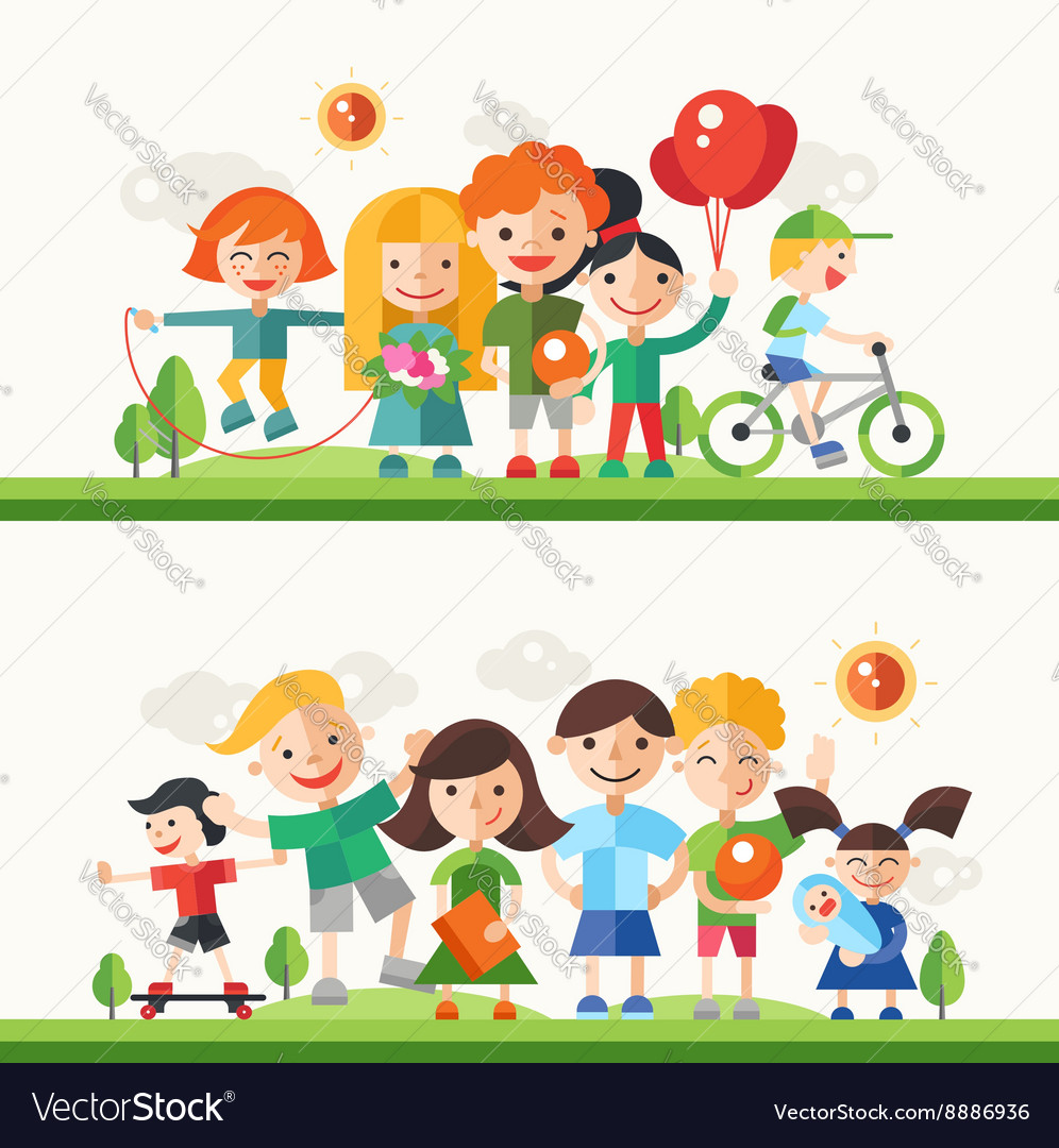 Children hobbies and activities  flat design vector