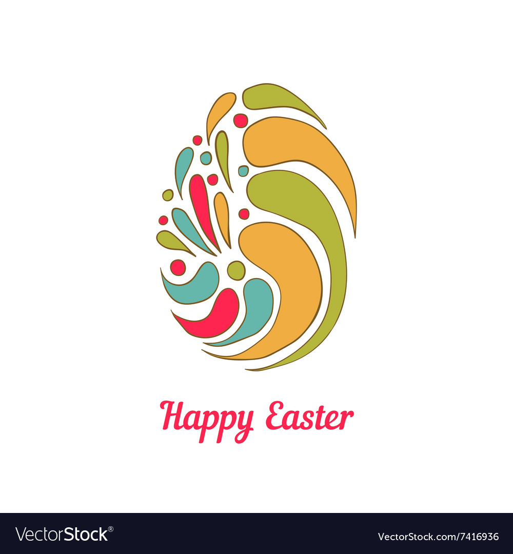 Greeting card with full color doodle easter egg vector