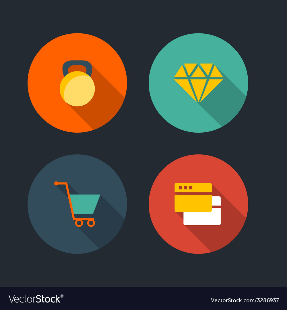 Basic flat icon set vector