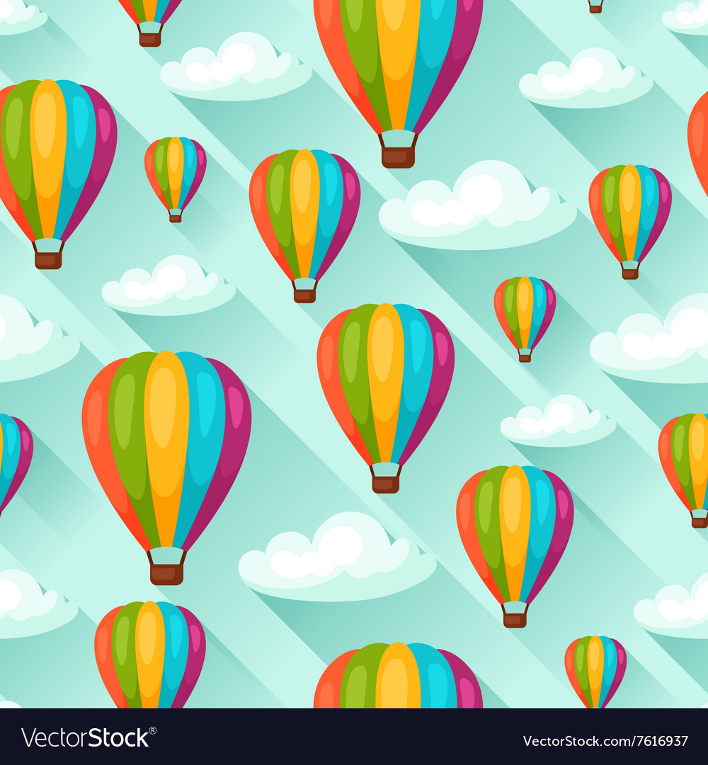 Seamless travel pattern with hot air balloons vector