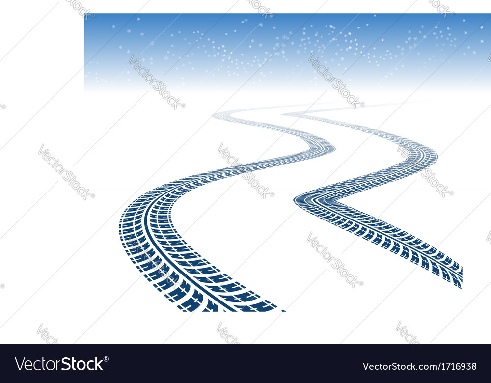 Winter tire tracks vector