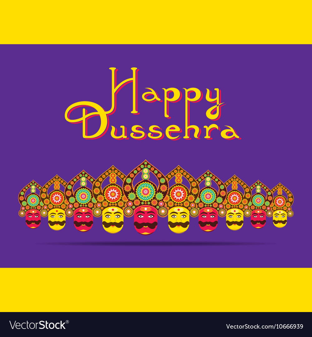 Happy dussehra festival greeting or poster design vector