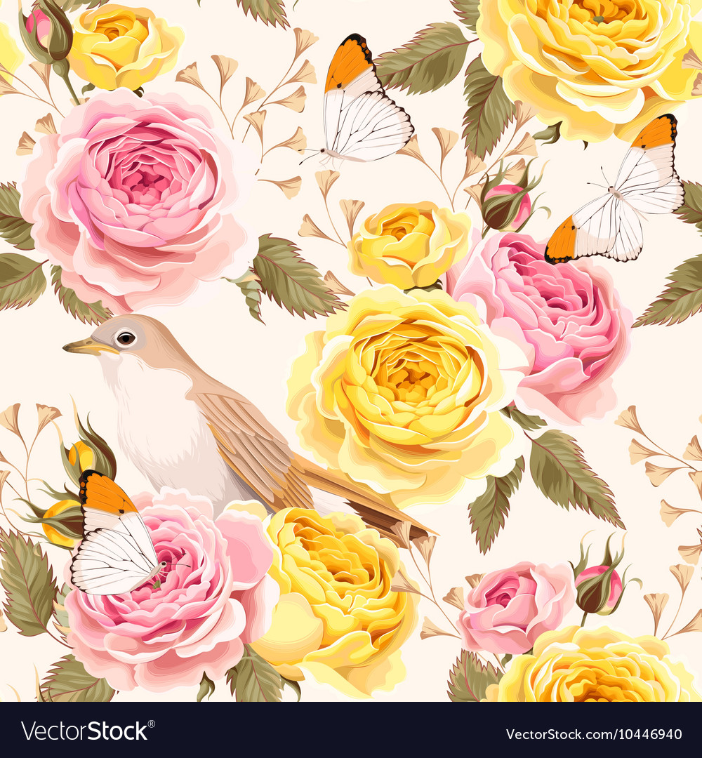 English roses and birds seamless vector