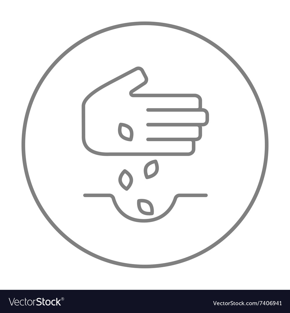 Hand planting seeds in ground line icon vector