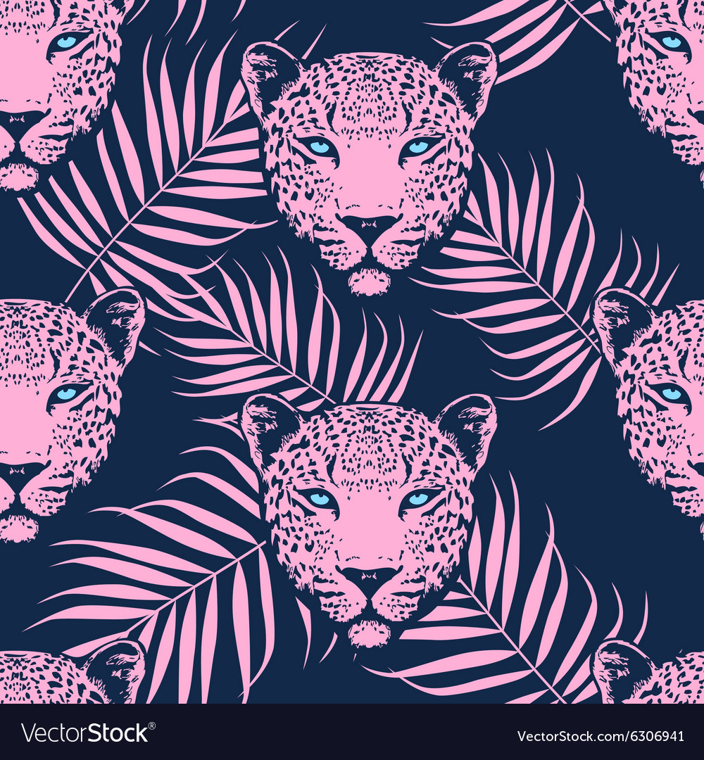 Leopard with palm leaves pattern vector