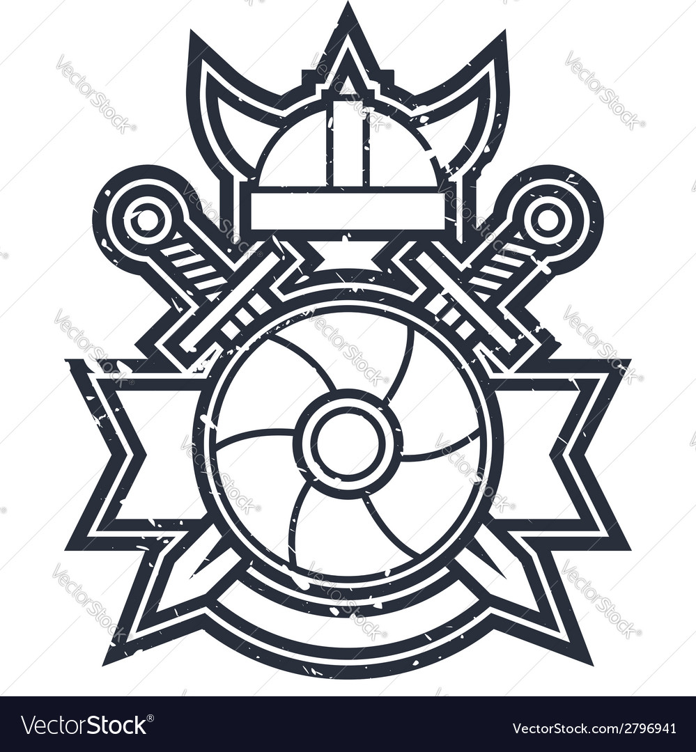 Swords and shield icon vector